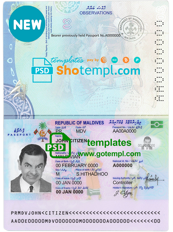 Maldives passport template in PSD format, fully editable, with all fonts