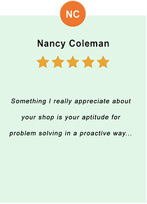 Nancy Coleman - feedback of our valued customer