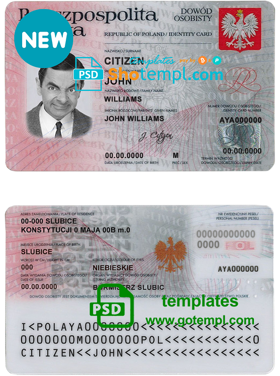 Poland ID template in PSD format, fully editable