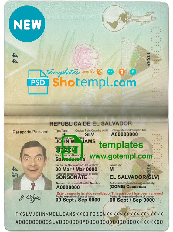 Salvadorpassport template in PSD format, fully editable
