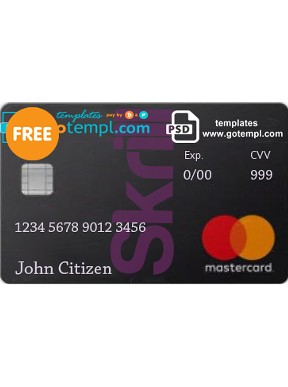 Skrill Mastercard Debit Card template in PSD format, fully editable