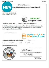 USA Arkansas Commercial Contractors Licensetemplates inWord and PDFformat