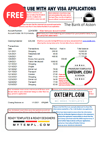 United Kingdom The Bank of Aston bank statement template in Excel and PDF format