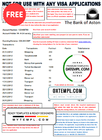 United Kingdom The Bank of Aston bank statement template in Word format