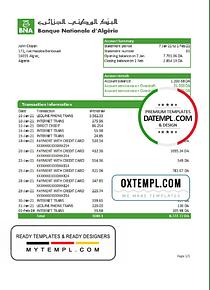 Algeria Banque nationale d'Algérie (BNA) bank statement template in Excel and PDF format