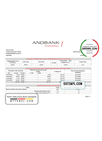 Andorra Andbank bank statement template in Excel and PDF format