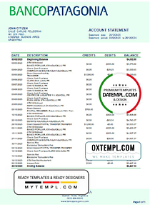 Argentina Banco Patagonia bank statement template in Word and PDF format