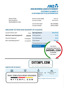 Australia ANZ proof of address bank statement template in .doc and .pdf format, fully editable