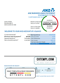 Australia ANZ proof of address bank statement template in .xls and .pdf format, fully editable