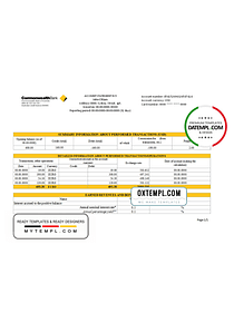 Australia Commonwealth Account Bank statement template in Excel and PDF format, fully editable