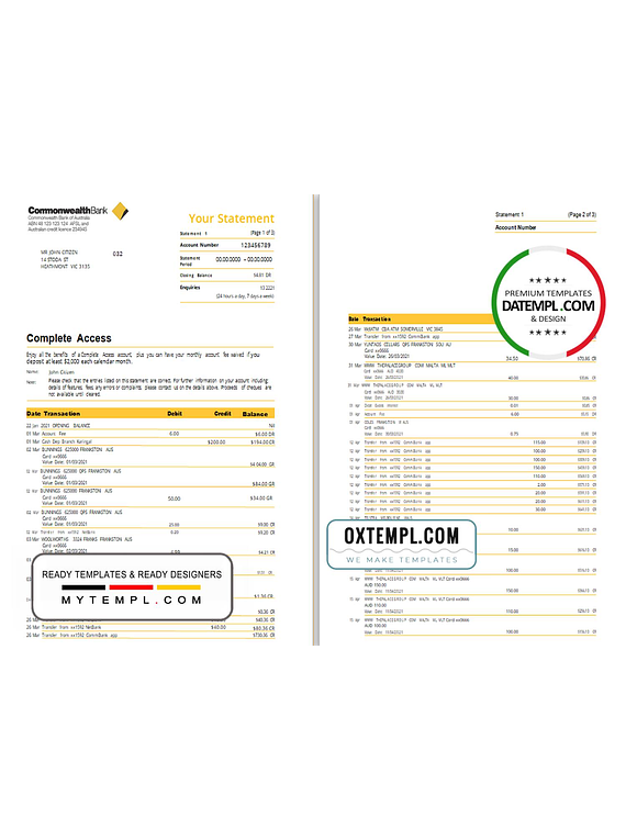 Australia Commonwealth bank statement template in Word and PDF format (3 pages), version 2