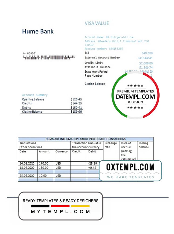 Australia Humebank proof of address statement template in .doc and .pdf format, fully editable