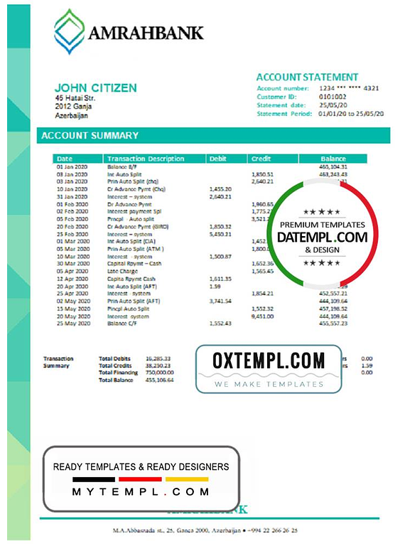 Azerbaijan Amrahbank bank account statement template in Word and PDF format