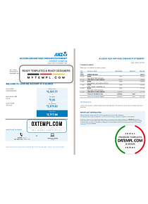 Australia ANZ proof of address bank statement template in Word and PDF format, 2 pages