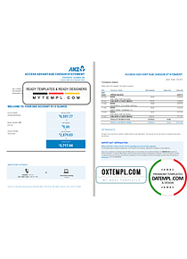 Australia ANZ proof of address bank statement template in Excel and PDF format, 2 pages