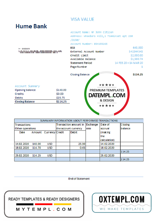 Australia Humebank bank statement easy to fill template in Excel and PDF format