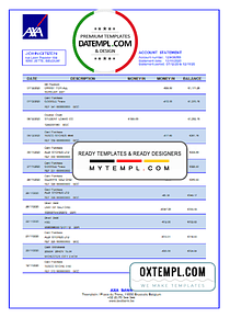 Belgium AXA Bank statement template in Word and PDF format