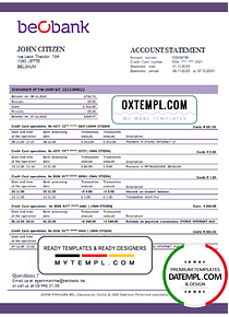 Belgium Beobank statement template in Word and PDF format