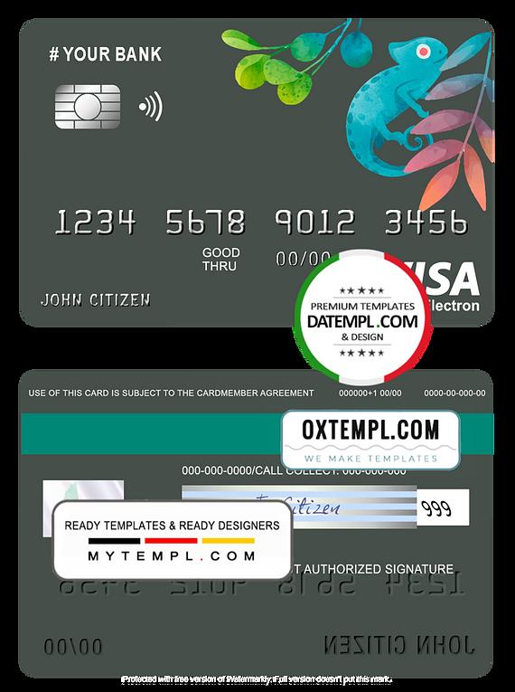 # bueno tropical universal multipurpose bank visa electron credit card template in PSD format, fully editable