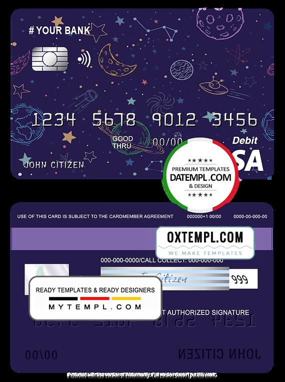 # creative space universal multipurpose bank visa credit card template in PSD format, fully editable