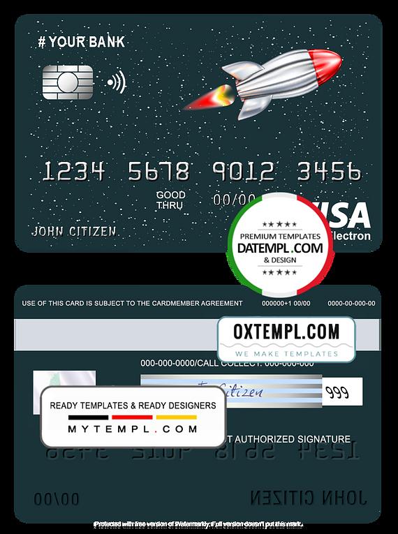 # direct rocket universal multipurpose bank visa electron credit card template in PSD format, fully editable