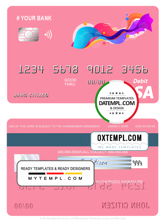 # draw coroful universal multipurpose bank visa credit card template in PSD format, fully editable