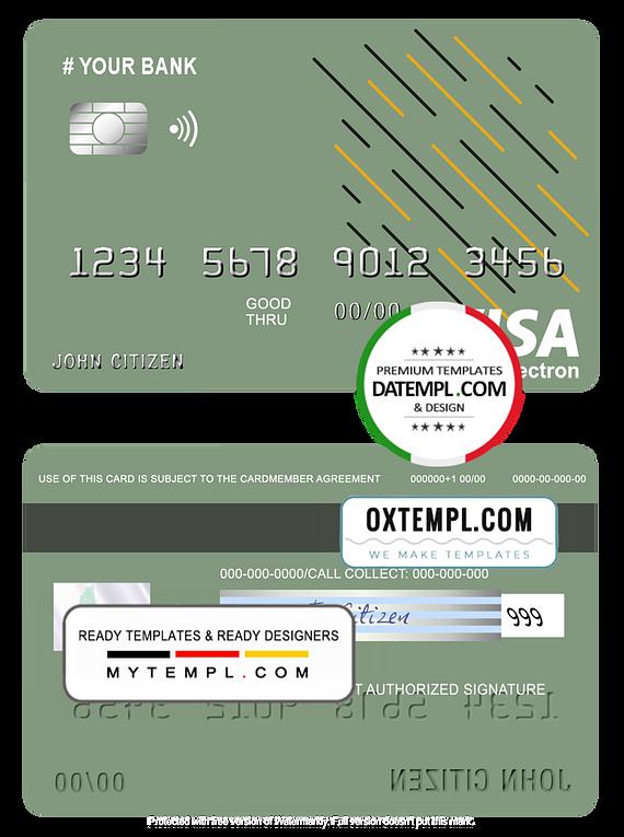# energy line universal multipurpose bank visa electron credit card template in PSD format, fully editable