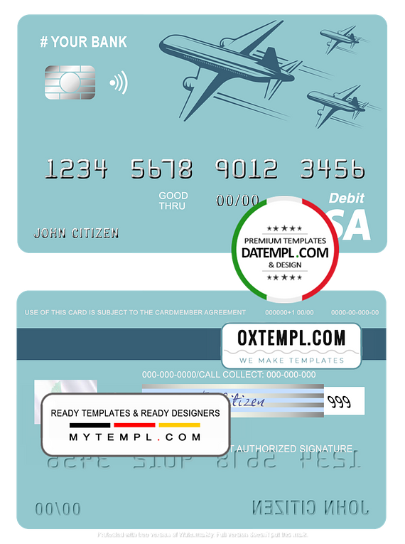 # finesse ship universal multipurpose bank visa credit card template in PSD format, fully editable