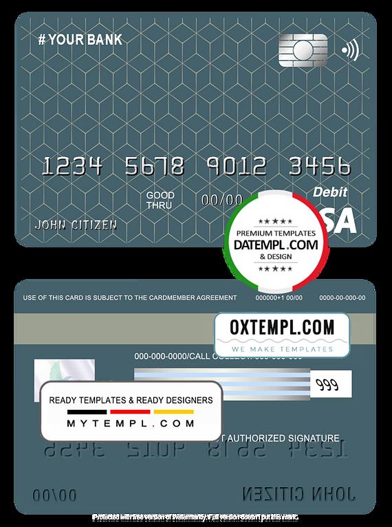 # geometric simple universal multipurpose bank visa credit card template in PSD format, fully editable
