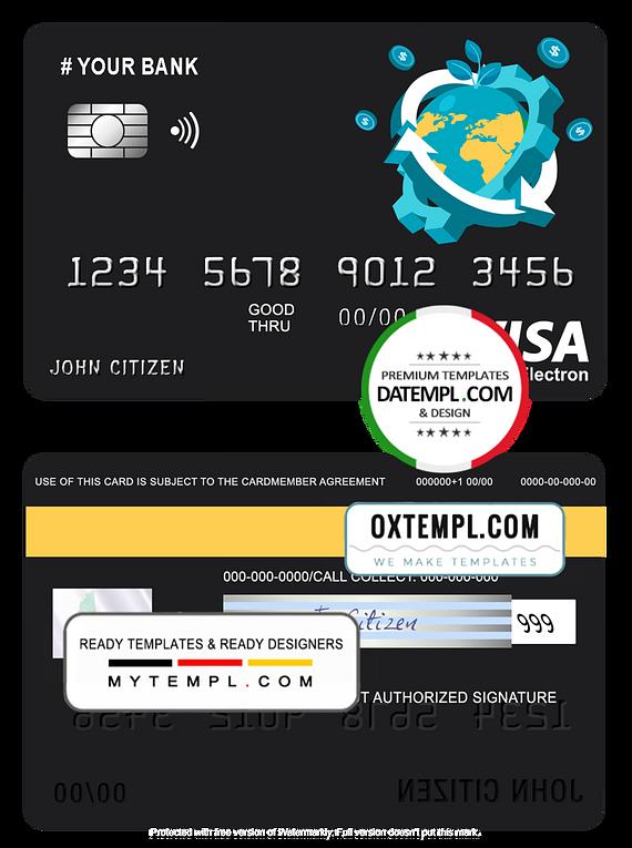 # jet world universal multipurpose bank visa electron credit card template in PSD format, fully editable