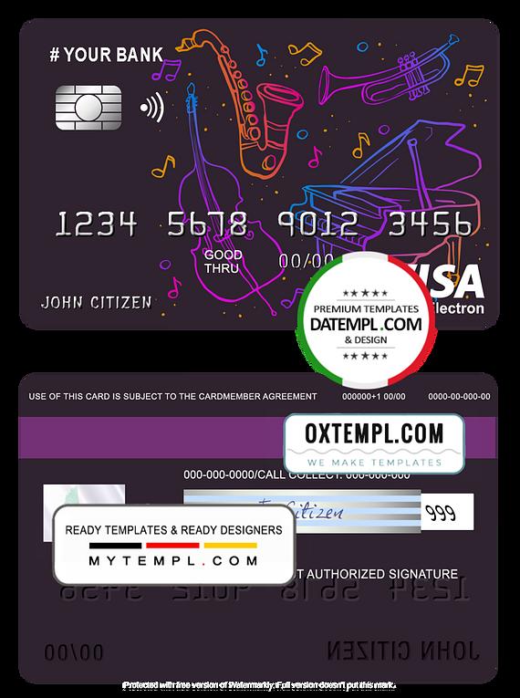 # moonlight instrumental universal multipurpose bank visa electron credit card template in PSD format, fully editable
