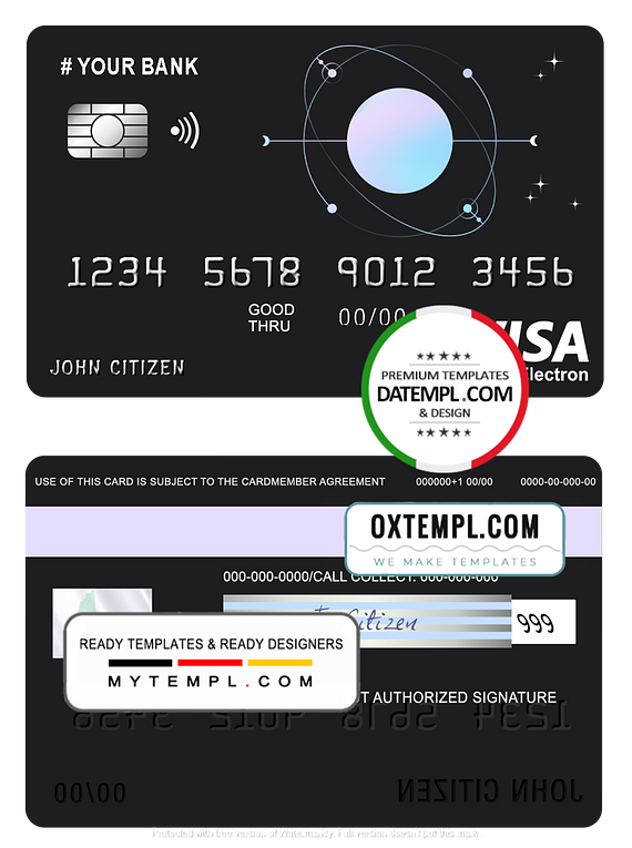 # one space universal multipurpose bank visa electron credit card template in PSD format, fully editable