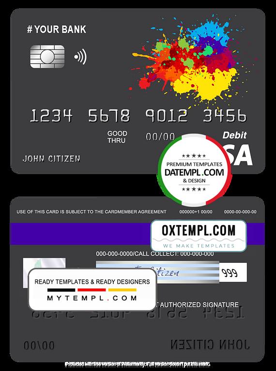 # paintings color universal multipurpose bank visa credit card template in PSD format, fully editable