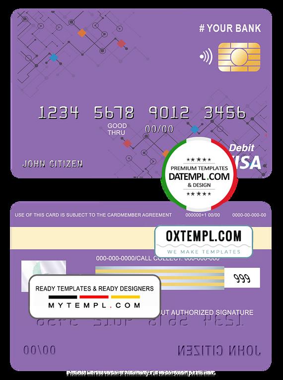 # purpleistic universal multipurpose bank visa credit card template in PSD format, fully editable