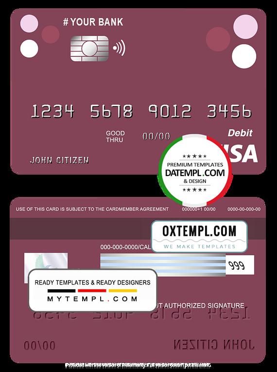 # roundara universal multipurpose bank visa credit card template in PSD format, fully editable
