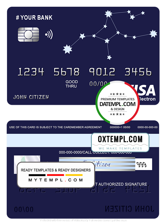 # starline astrology universal multipurpose bank visa electron credit card template in PSD format, fully editable