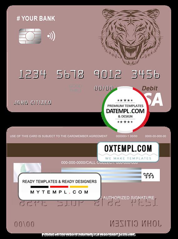 # tigarara universal multipurpose bank visa credit card template in PSD format, fully editable