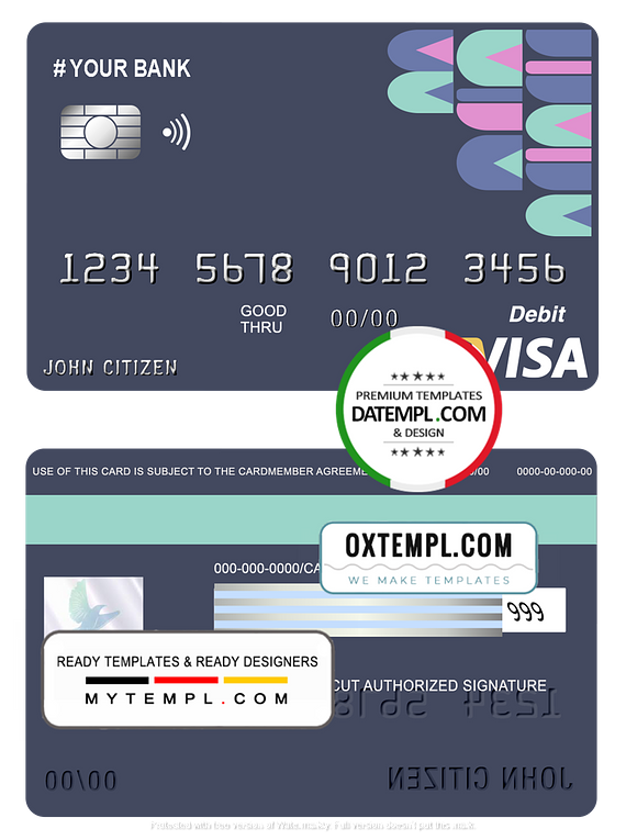 # abstractsio universal multipurpose bank visa credit card template in PSD format, fully editable
