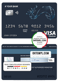 # action water universal multipurpose bank visa electron credit card template in PSD format, fully editable