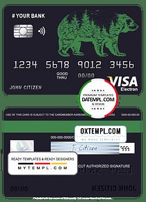# alpine bear universal multipurpose bank visa electron credit card template in PSD format, fully editable