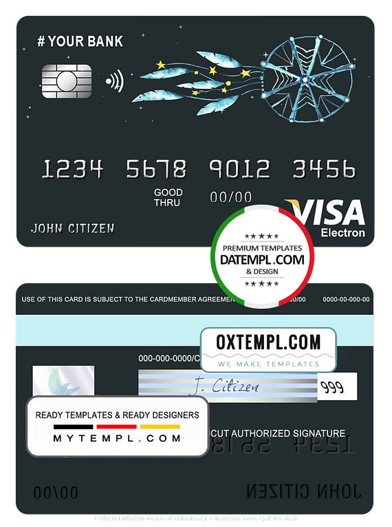 # awesome dreamcatcher universal multipurpose bank visa electron credit card template in PSD format, fully editable