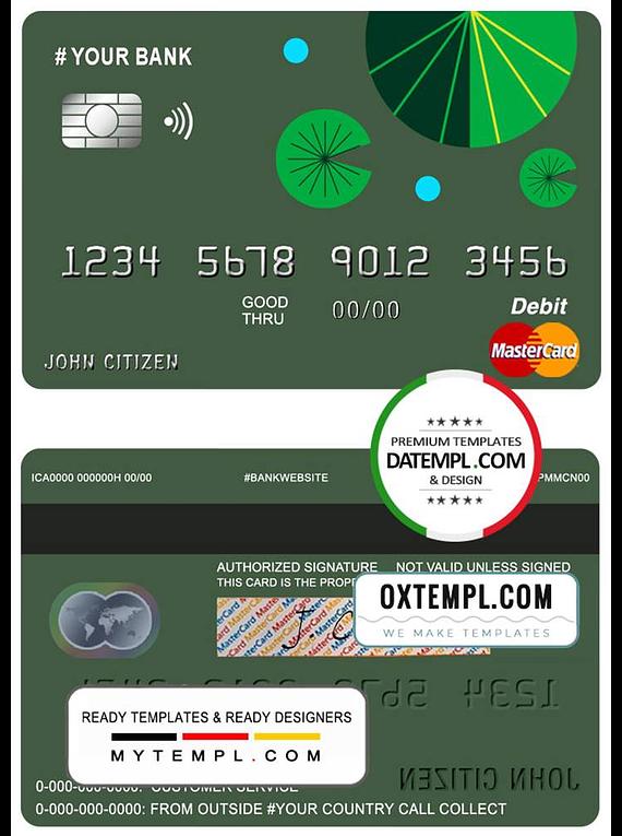 # budget green universal multipurpose bank mastercard debit credit card template in PSD format, fully editable
