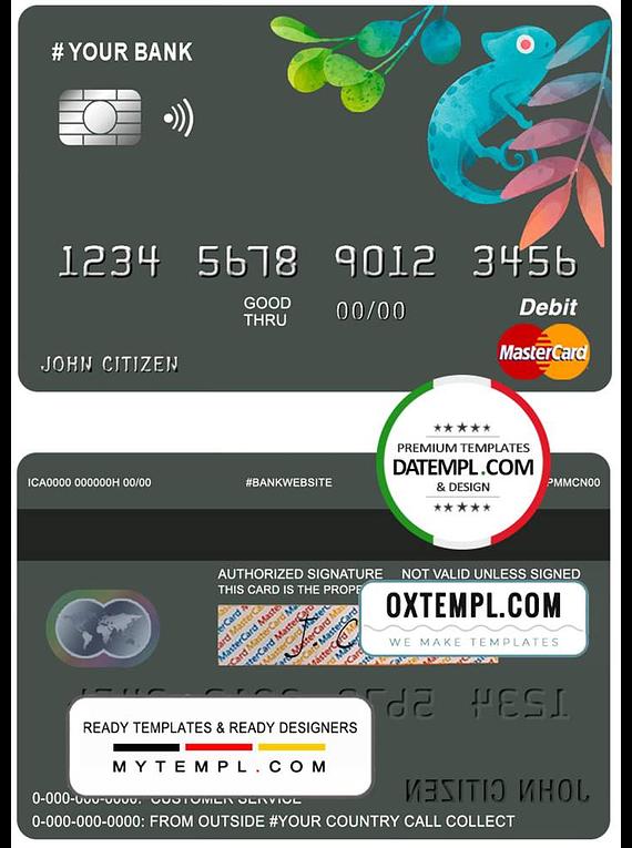 # bueno tropical universal multipurpose bank mastercard debit credit card template in PSD format, fully editable