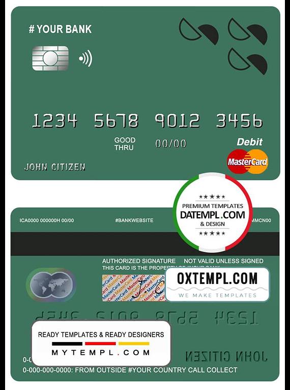 # creations line universal multipurpose bank mastercard debit credit card template in PSD format, fully editable