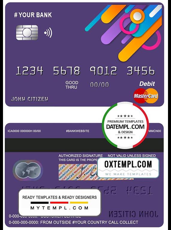 # detail line universal multipurpose bank mastercard debit credit card template in PSD format, fully editable