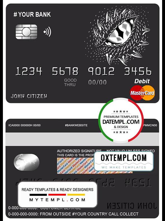 # dragonella universal multipurpose bank mastercard debit credit card template in PSD format, fully editable