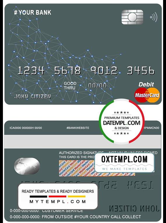 # geometrex universal multipurpose bank mastercard debit credit card template in PSD format, fully editable