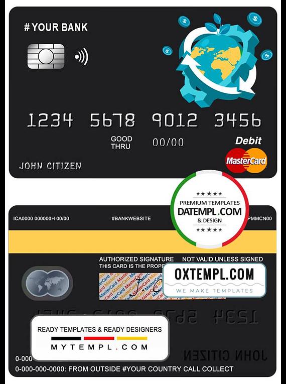 # jet world universal multipurpose bank mastercard debit credit card template in PSD format, fully editable