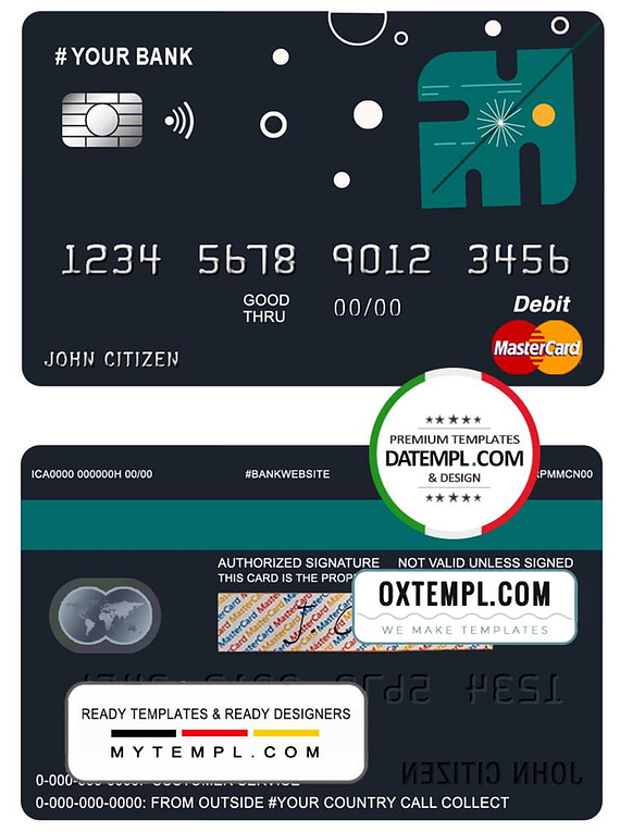 # powder art universal multipurpose bank mastercard debit credit card template in PSD format, fully editable