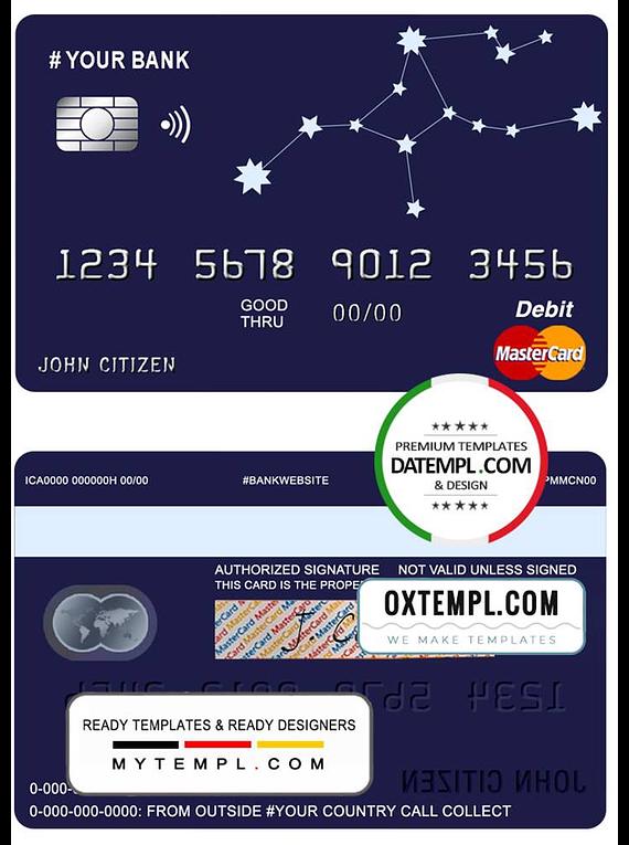 # starline astrology universal multipurpose bank mastercard debit credit card template in PSD format, fully editable